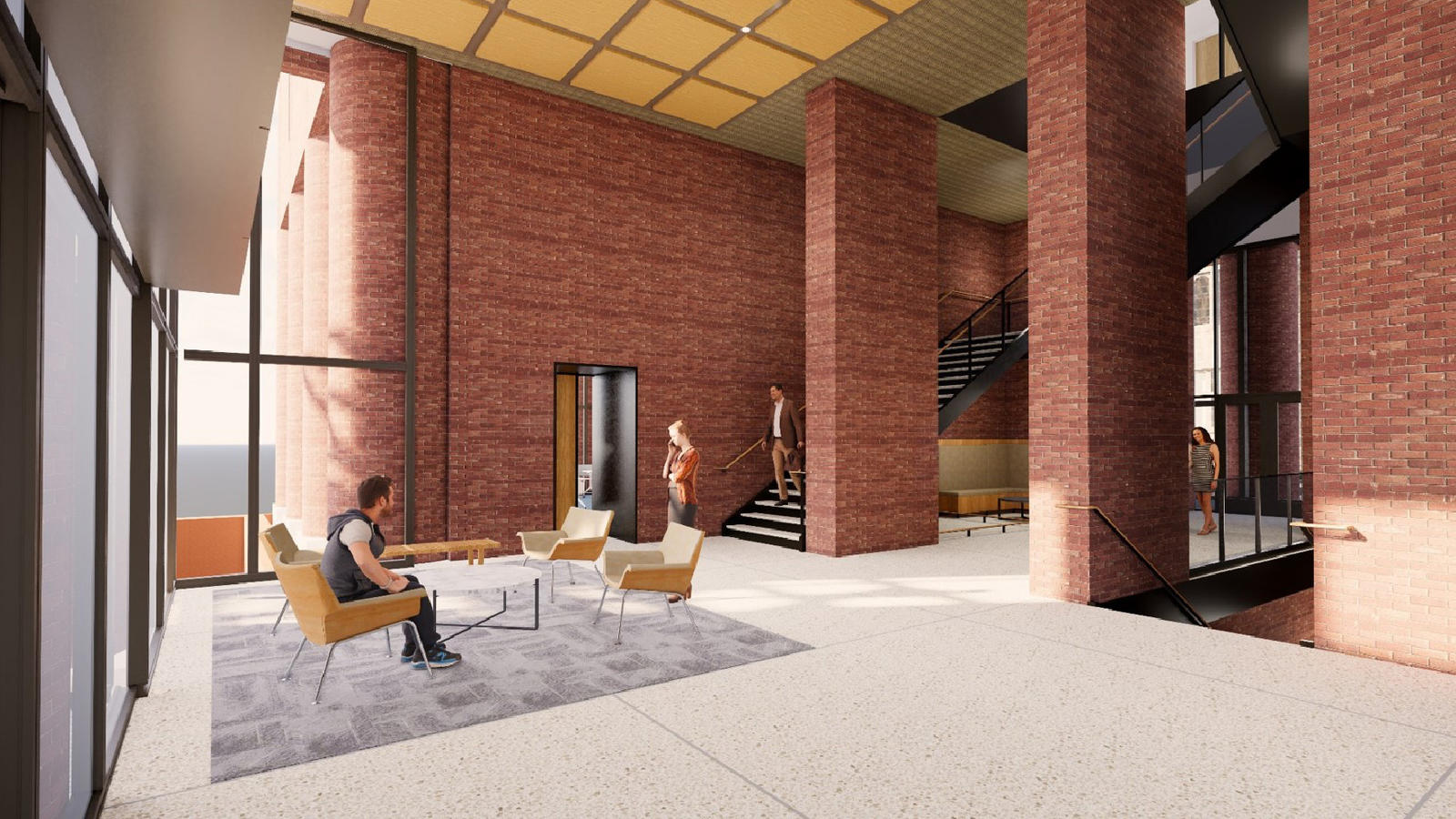 Digital rendering showing future lobby of Kline Tower with connecting stairs to the concourse level and second level classrooms.