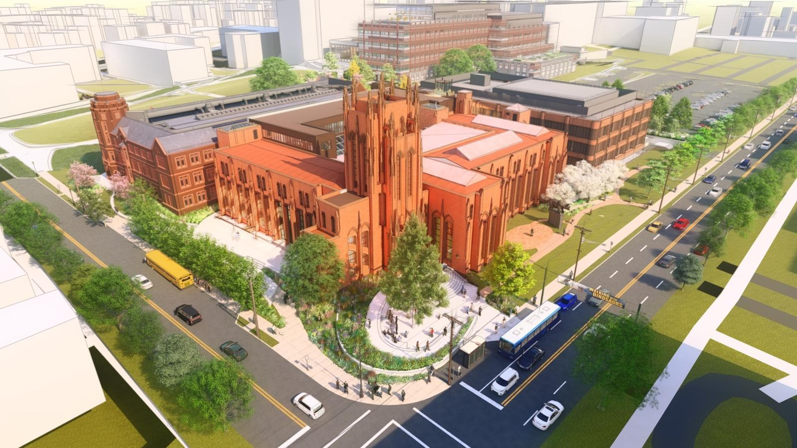 Digital rendering showing an aerial perspective of the future Peabody Museum Whitney Avenue entrance.