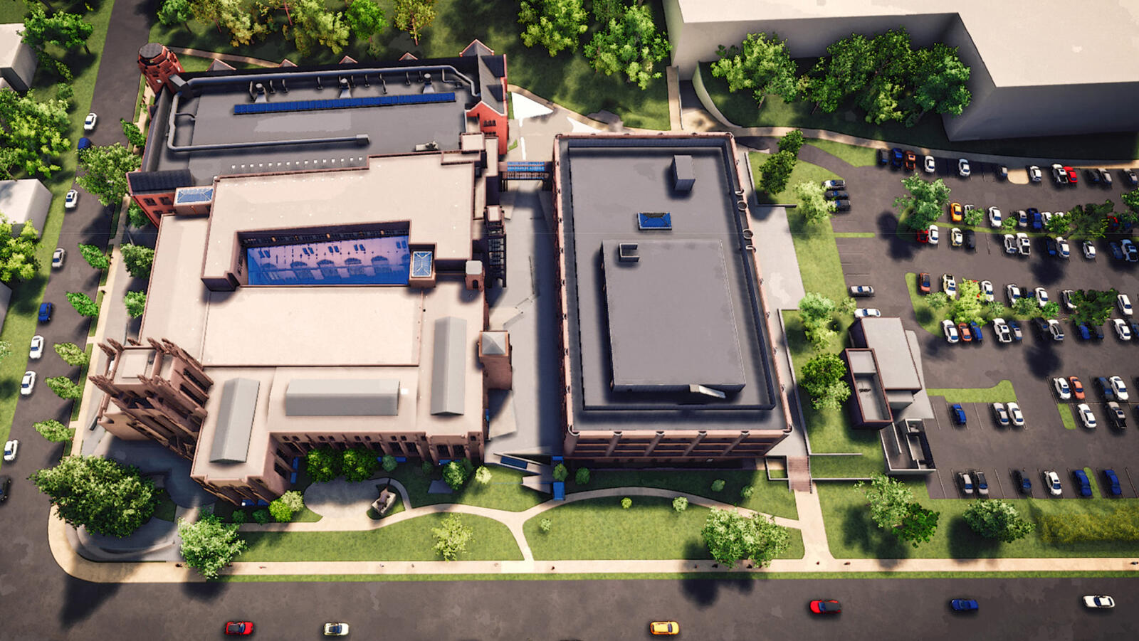 Digital rendering showing an aerial perspective of the completed Peabody Museum.