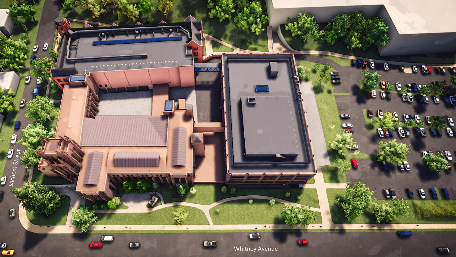 Digital rendering showing an aerial perspective of the existing Peabody Museum.