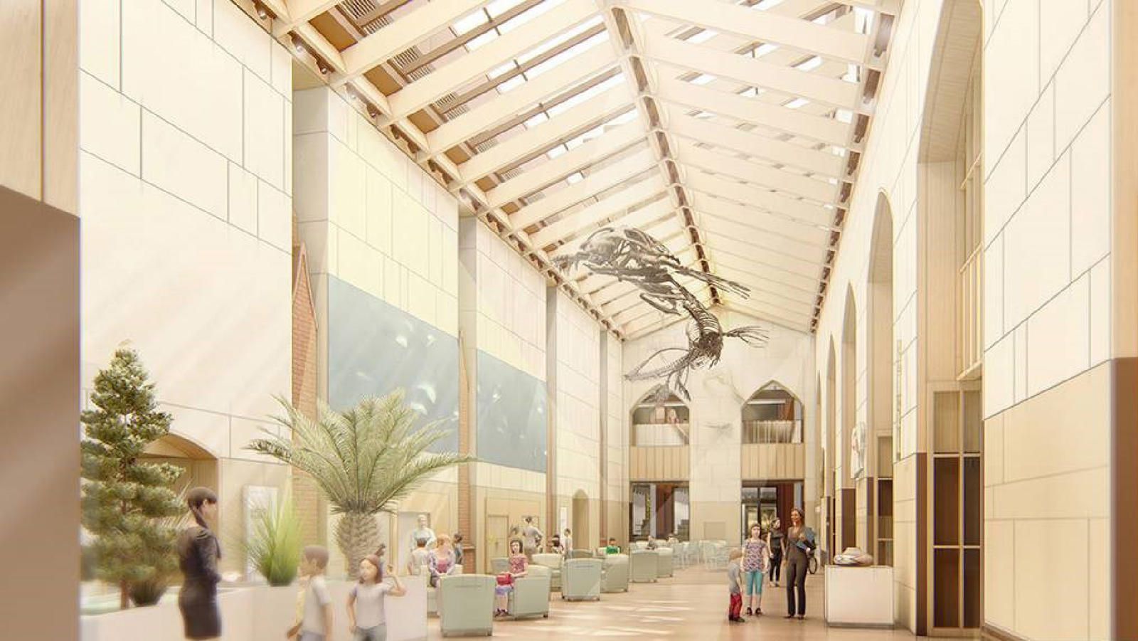 Digital rendering showing the future atrium to be constructed between Peabody Museum and the Environmental Science Center.