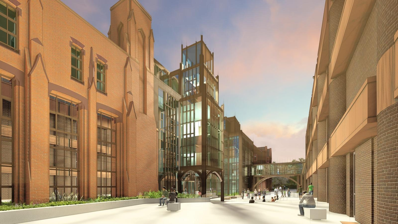 Digital rendering showing future north plaza, addition, and entrance between Peabody and Kline Geology Lab from Whitney Avenue..