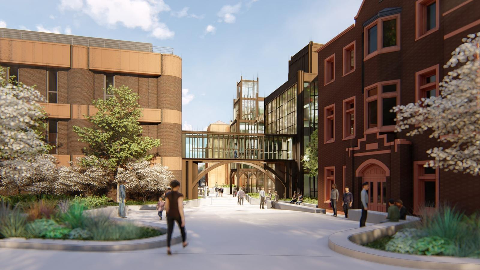 Digital rendering showing future north plaza, addition, and entrance between Peabody and Kline Geology Lab from Science Hill..